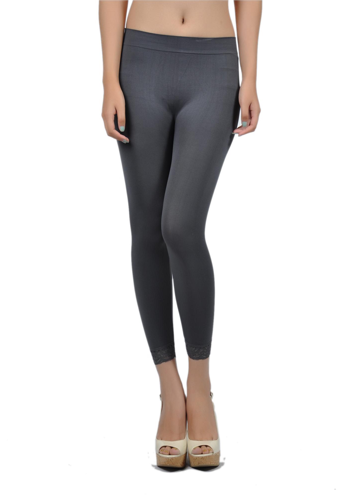 Soho Girls Junior's Capri Length Lace Trim Leggings - One Size, Charcoal at Sears.com